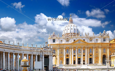 St. Peter's Basilica, St. Peter's Square, Vatican City. Panorama Stock Photo
