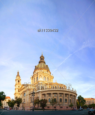 St. Stephen Basilica In Budapest, Hungary In The Morning Stock Photo