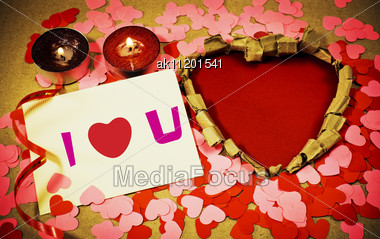 St. Valentine's Day Greeting Background With Two Burning Candles Stock Photo