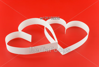 St. Valentine Day. Two Hearts,on White Background Stock Photo