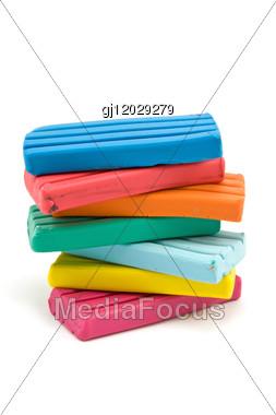Stack Of Color Plasticine Bricks Stock Photo