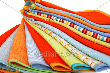 Stack Of Colorful Towels On White Background. Stock Photo