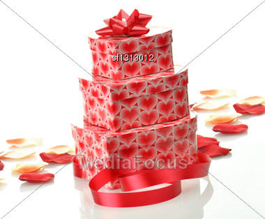 Stack Of Gift Boxes On White Background Stock Photo