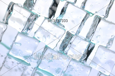 Stack Of Ice Cubes , Close Up For Background Stock Photo