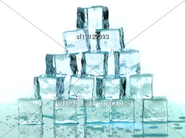 Stack Of Ice Cubes On A White Background Stock Photo