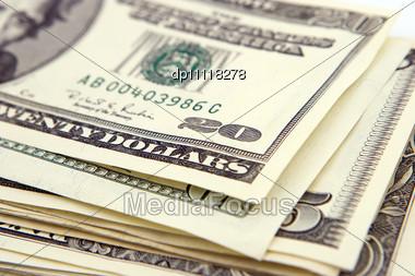 Stack Of American Dollars, Money Stock Photo