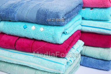 Stack Of Colorful Towels, Closeup Picture. Stock Photo