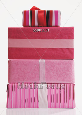 Stack Of Pink Gift Boxes Stock Photo