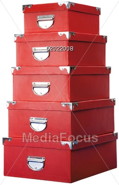 Bon Stack Of Red Storage Boxes Stock Photo
