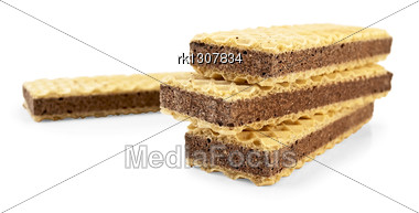 Stack Of Wafers Spaced With Porous Chocolate Stock Photo