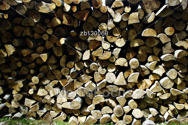 Stacked Raw Logs, Ready For Transport And Processing In Wood Industry. Stock Photo