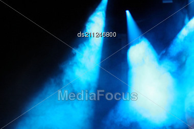 Stage Lights And Audience In Background.Show Before Show. Stock Photo