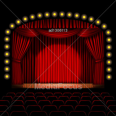 Stage With Red Curtain Background Stock Photo