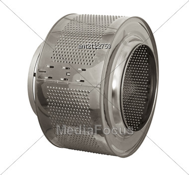 Stainless Steel Drum Of A Washing Machine. Close-up Stock Photo