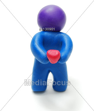 Standing Blue Plasticine Man Holding Red Heart Isolated On White Background With Shadow Stock Photo