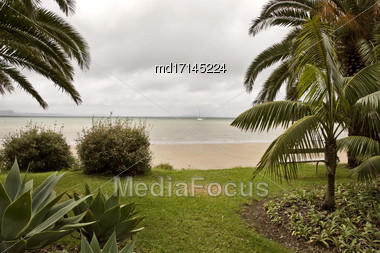 Stanmore Bay New Zealand Beach Front Town Stock Photo