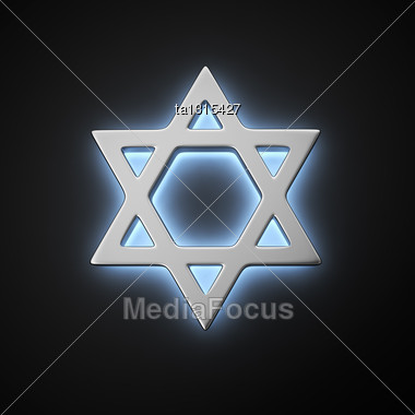Star Of David With Backlight Effect On The Black Background Stock Photo