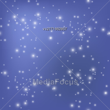 Star Seamless Pattern Isolated On Blurred Blue Background Stock Photo