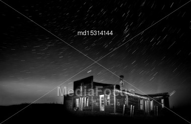 Star Trails Night Photography Saskatchewan Canada Dark Stock Photo