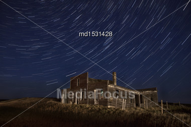 Star Trails Night Photography Saskatchewan Canada Dark Stock Photo