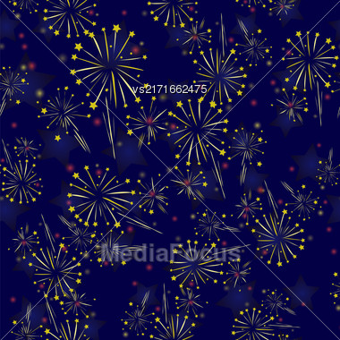 Starry Firework Seamless Pattern On Blue Background Stock Photo