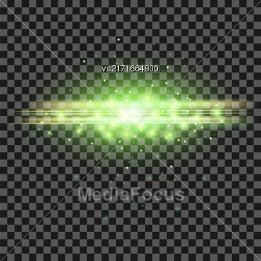 Starry Light Background. Green Glowing Lines. Speed Motion Effect. Sparcle Glitter Trail Stock Photo