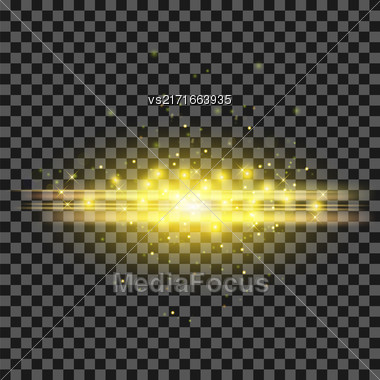 Starry Light Background. Yellow Glowing Lines. Speed Motion Effect. Sparcle Glitter Trail Stock Photo