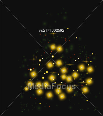 Starry Light Background. Yellow Glowing Stars. Speed Motion Effect. Sparcle Glitters Stock Photo