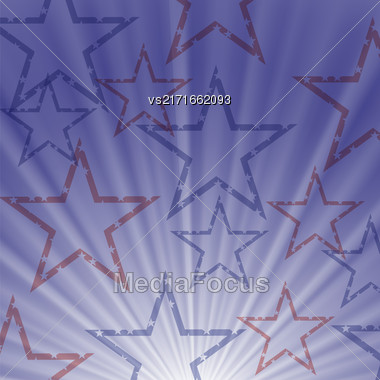Starry Wave Blue Background For Independence Day Of America Stock Photo