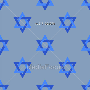 Stars Of David Isolated On Blue Background. Seamless Pattern Stock Photo