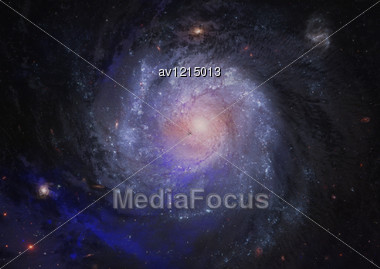 Stars And Spiral Galaxy In A Free Space Stock Photo