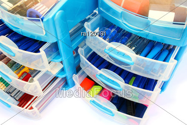 Stationery Drawers Stock Photo