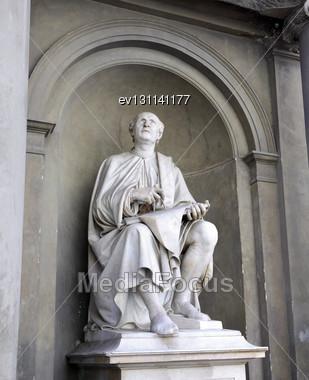 Statue In Duomo Santa Maria Del Fiore And Campanile. Florence. Inside Interior. Italy Stock Photo