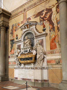 Statue In Duomo Santa Maria Del Fiore And Campanile. Florence. Inside Interior. Italy Stock Photo