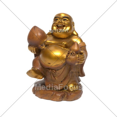 Statuette Of A Smiling Golden Buddha Stock Photo
