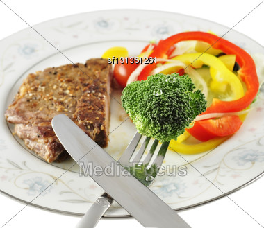 Steak And Fresh Vegetables, Close Up Stock Photo