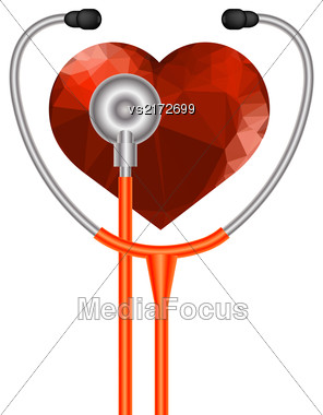 Stethoscope Heart Symbol. Medical Acoustic Instrument With Cord Isolated On White Background Stock Photo