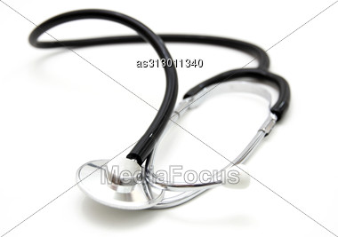 Stethoscope Isolated Over A White Background. Medical Instrument For Auscultation Stock Photo
