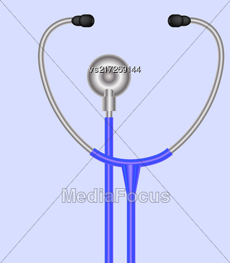 Stethoscope Symbol. Medical Acoustic Instrument With Cord Isolated On Blue Background Stock Photo