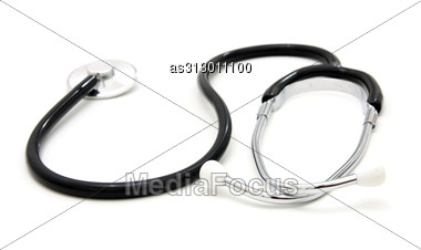 Sthetoscope Isolated Over A White Background. Medical Instrument For Auscultation Stock Photo