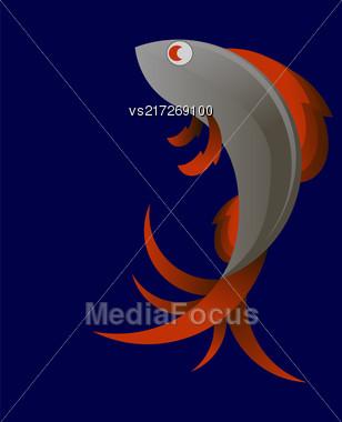 Stilized Sea Fish Icon Isolated On Blue Background Stock Photo