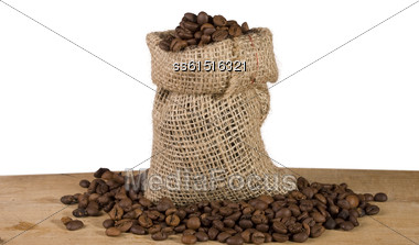 Still Life With Bag Of Coffee On White Background Stock Photo