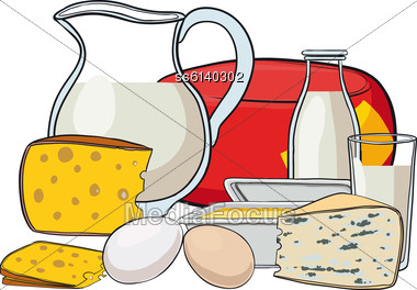 Still Life With Milk Products Cheese And Butter Stock Photo
