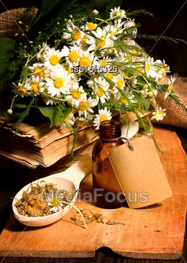 Still Life With Pharmaceuticals From The Dry Chamomile Bouquet And Bottle With Blank Label Stock Photo