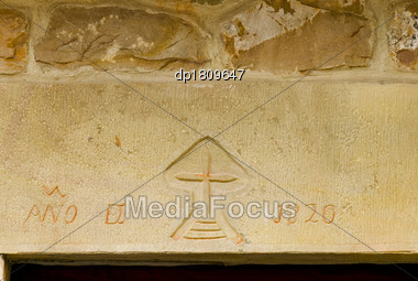 Stone Carving In Lintel Stock Photo
