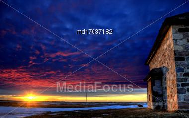 Stone House Sunset In Saskatchewan Canada Abandoned Stock Photo