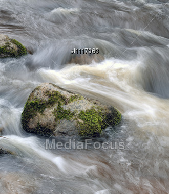 Stone At A River Stream, Spring In A Neris Park Of A Lithuania Stock Photo