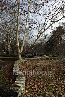 Stone Wall Near Pedestrian Path And Pond At Autumn Day, Leafless Tree And Bridge In Background, Dry Leaves In Foregraund Stock Photo