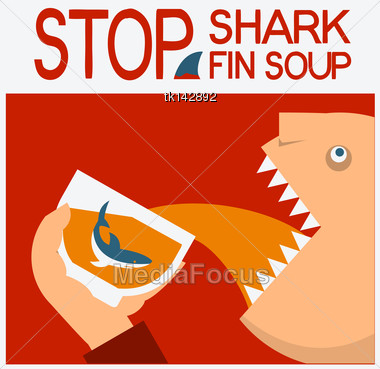 Stop Shark Finning Vector Symbol Poster Background Text Stock