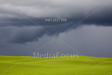 Storm Clouds Saskatchewan Agriculture Field Prairie Crop Stock Photo